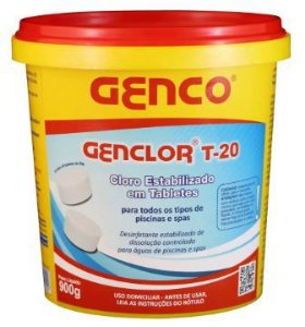 Cloro estabilizado Genclor tabletes T-20 - 45un Genco