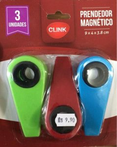 Prendedor magnetico 3pcs plast color clink