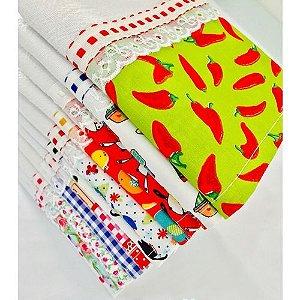 Pano de prato algodao com barrado Textil H Carvalho
