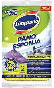 Pano Esponja Enxuga Mais Limppano 14x9 cm - 2 panos