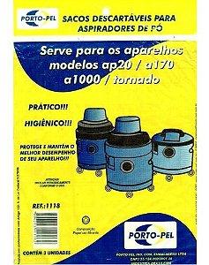 Saco aspirador electrolux hidrolux ap20 / a170 / a1000 / tornado - 3 und (REF.1118)