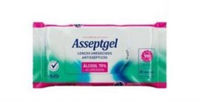 ASSEPTGEL LENCO SACHET 20 UNIDADES ALCOOL 70 FLOW PACK