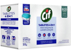 Detergente Tablete 4 em 1 Cif Para Máquina de Lavar Louças 18 unidades