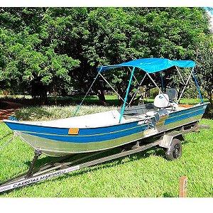 Barco de alumínio Martinelli Tornado 600 BA + Carreta Rodoviária Tornado Viga U + Capota de sol + 2 Cadeiras giratórias estofada Martinelli - Brinde churrasqueira Bafinho de inox - (Frete a consultar)