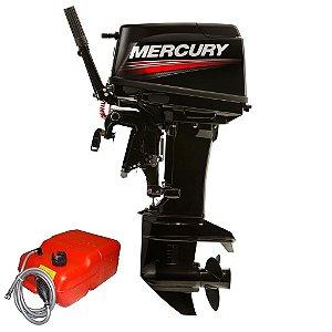 Motor de popa Mercury  50 HP MH 2T 3 Cil. - manual c/ manche, rabeta 15 pol. Preço Produtor Rural e PJ