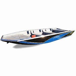Barco Uai Black Bass 6.0 com corrimão flutuante, para motor até 50HP (pilotagem na popa)