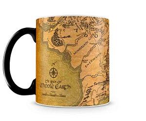 Caneca Mágica Senhor dos Anéis Mapa da Terra Média