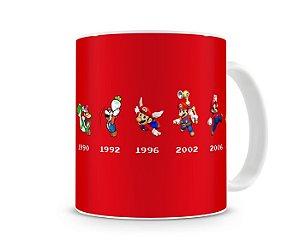 Caneca Mario Bros Linha do Tempo