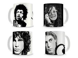 Kit Canecas 27 Anos - Hendrix, Janis, Morison e Cobain