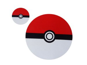 Kit Pokebola mousepad Redondo + porta copos