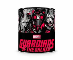 Caneca Guardiões da Galaxia Cartoon HQ Preta