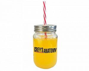 Copo de vidro com canudo Greys Anatomy logo 420 ml