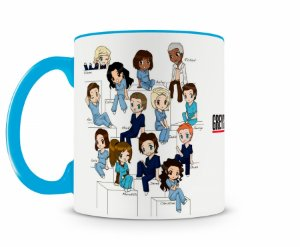 Caneca Greys Anatomy Personagens Cartoon Azul Claro