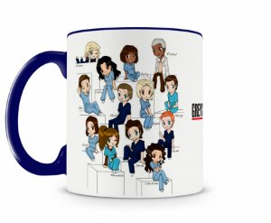 Caneca Greys Anatomy Personagens Cartoon Azul Escuro