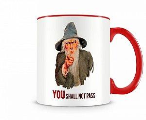 Caneca senhor dos anéis Gandalf You Shall Vermelha
