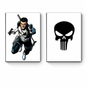 Kit 2 Quadros decorativos A4 Marvel Justiceiro
