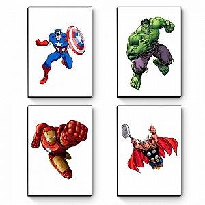 Kit 4 Quadros decorativos A5 Marvel Vingadores