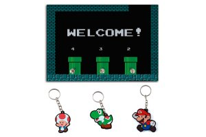 Combo Porta Chaves Welcome Mario + 3 chaveiros