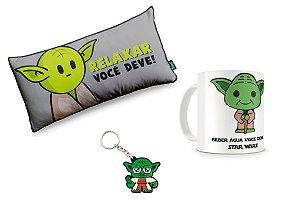 Combo Mestre Yoda com Almofada, caneca e chaveiro