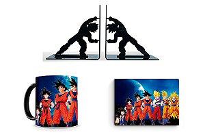 Combo Dragon Ball com Porta Livro + caneca mágica + quadro