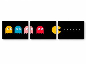 Kit 3 Quadros decorativos A4 Pac man