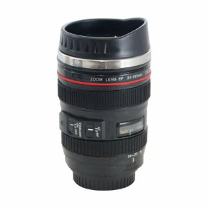 Copo térmico lente fotográfica c tampa abre e fecha