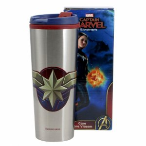 Copo Viagem Capitã Marvel metal 450ml