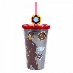 Copo Canudo Iron Man com pingente 500ml