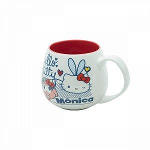 Caneca porcelana Hello Kitty e Monica 300ml