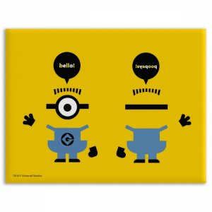 Placa Parede Metal Minions