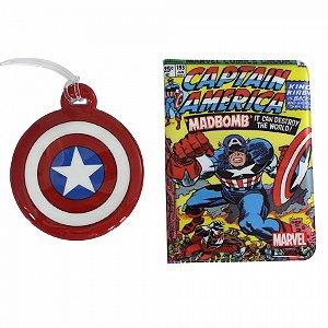 Kit Viagem Tag e Passaporte Capitão América Quadrinhos
