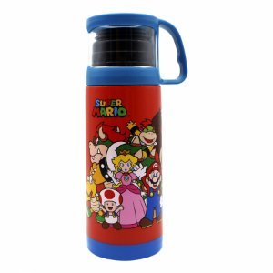 Garrafa térmica tampa e xícara Super Mario Turma 350 ml