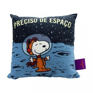 Almofada Snoopy Space 25x25cm Fibra Veludo
