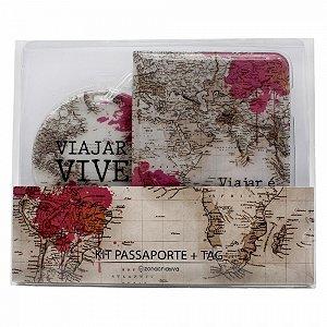Kit Viagem Tag e Passaporte Viajar é viver