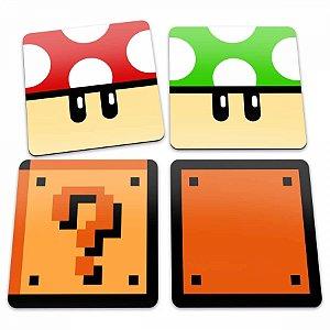Porta Copos Cogumelos e Blocos Mario Bros