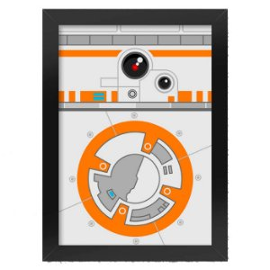 Poster com Moldura Geek Side Faces - BB8