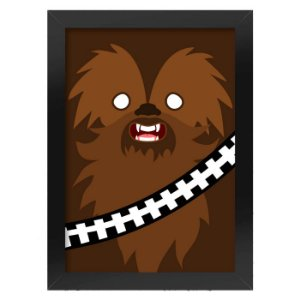 Poster com Moldura Geek Side Faces - chewbacca
