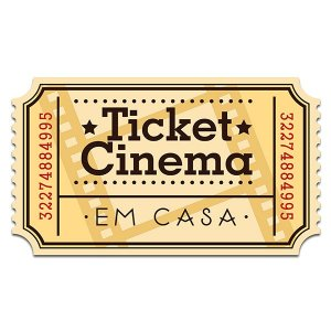 Placa de parede Ticket Cinema - 32 x 18 cm