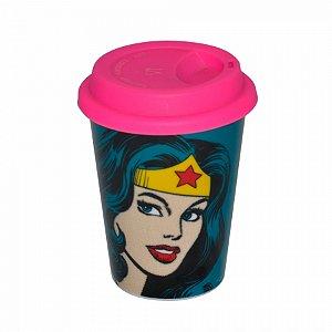 Copo ceramica DC com tampa silicone face Wonder Woman