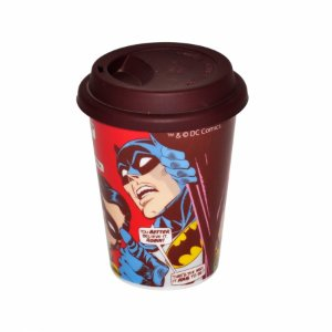 Copo ceramica DC com tampa silicone Batman Robim looking up