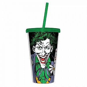 Copo plastico com tampa e canudo DC Joker c baralho colorido