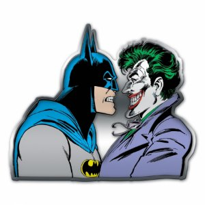 Placa parede metal recortada DC Batman and Joker face