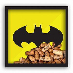 Quadro Rolha Madeira Vidro Dc Batman Logo