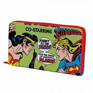 Carteira pu com ziper dco wonder woman x supergirl fd verde