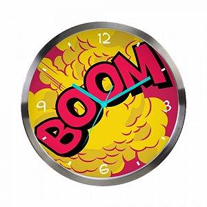 Relogio de parede metal dc boom colorido 30.5 x 3.8 cm