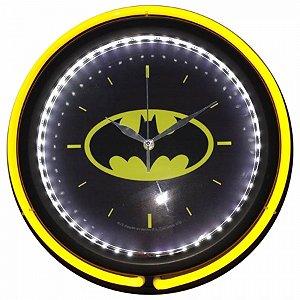 Relogio parede plasticovidro double neon dc batman logo