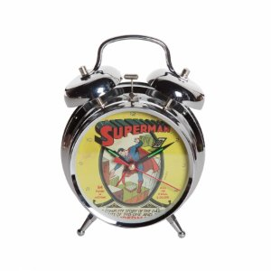 Relogio mesa metal dc superman cover 16 x 11,5 cm