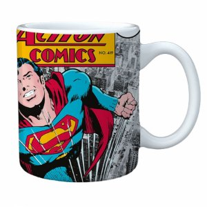 Caneca porcelana dc superman action comics 300 ml 8.4 x 5.5