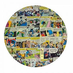 Bandeja metal redonda quadrinhos dc colorido 35 cm