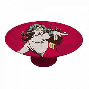 Prato de bolo porcelana dc wonder woman power vermelho